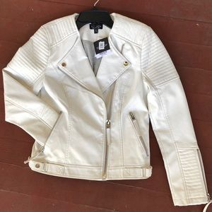 Top Shop White Leather Jacket Size 4